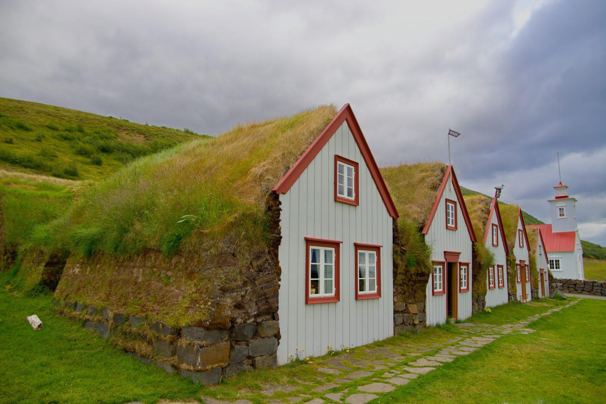 Grassodenhäuser in Laufás
